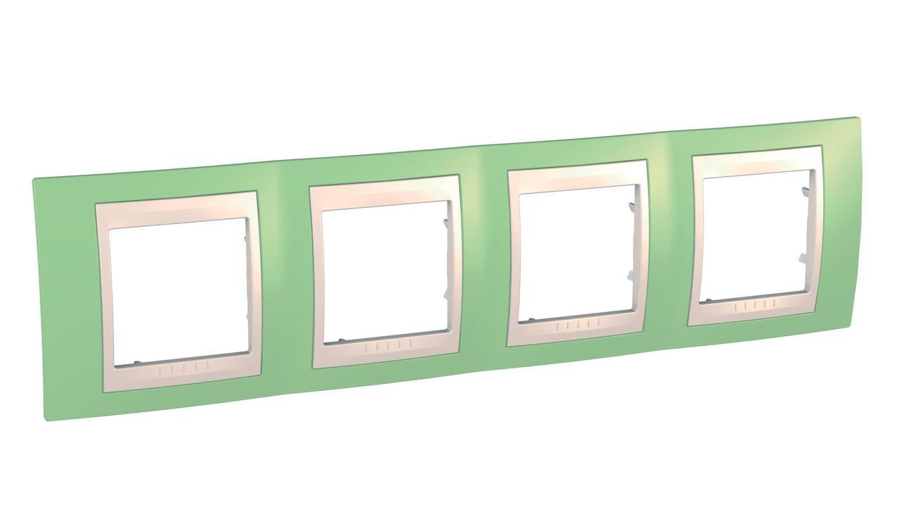 Рамка 4-ая (четверная), Зеленое яблоко/Бежевый, серия Unica, Schneider Electric
