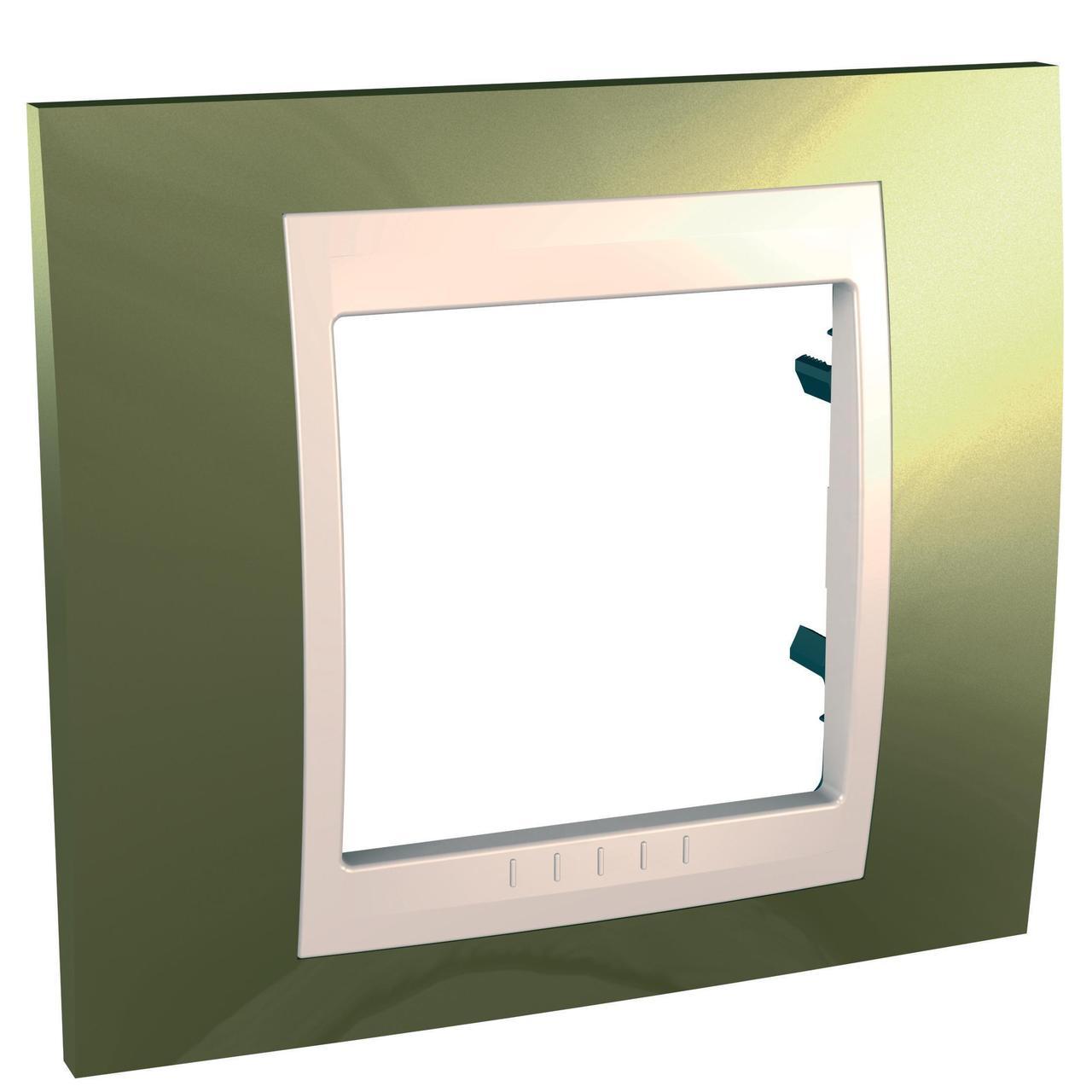 Рамка 1-ая (одинарная), Золото/Бежевый (пластик), серия Unica, Schneider Electric