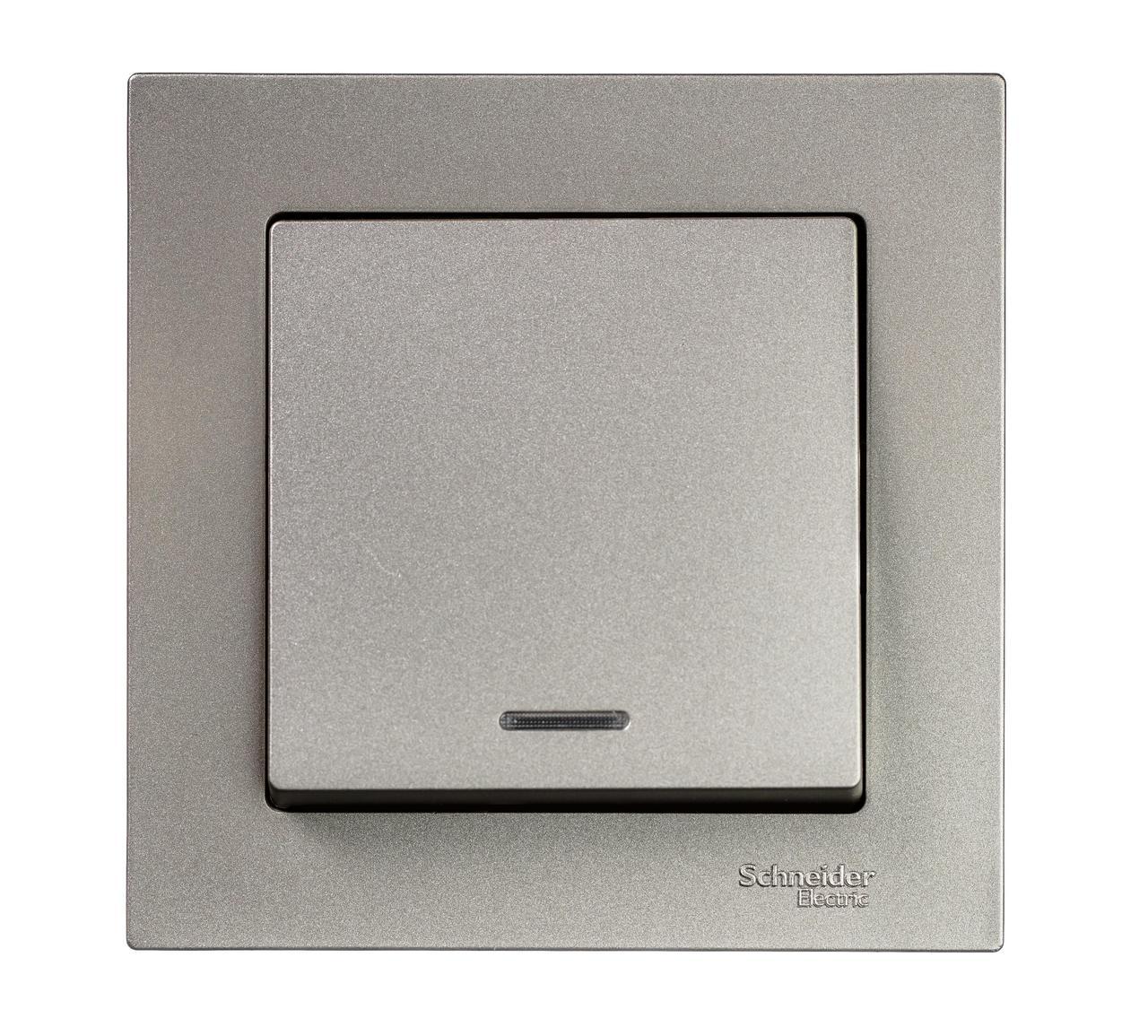 Выключатель 1-клавишный , с подсветкой , Шампань, серия Atlas Design, Schneider Electric