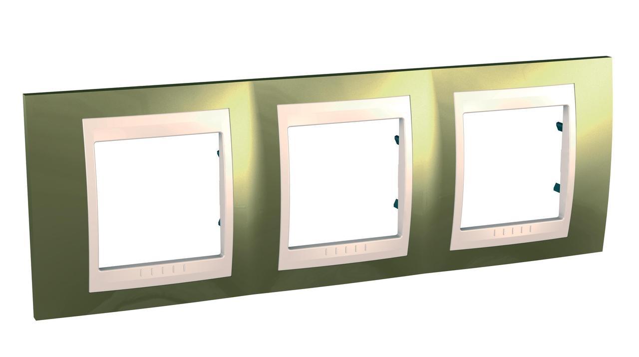 Рамка 3-ая (тройная), Золото/Бежевый (пластик), серия Unica, Schneider Electric