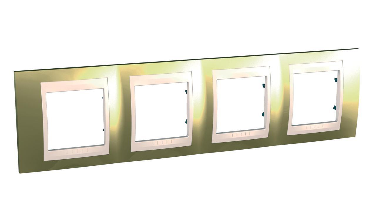 Рамка 4-ая (четверная), Золото/Бежевый (пластик), серия Unica, Schneider Electric