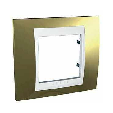 Рамка 1-ая (одинарная), Золото/Белый (пластик), серия Unica, Schneider Electric