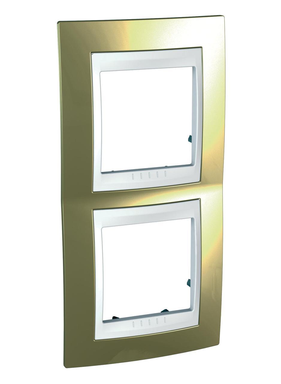Рамка 2-ая (двойная) вертикальная, Золото/Белый (пластик), серия Unica, Schneider Electric