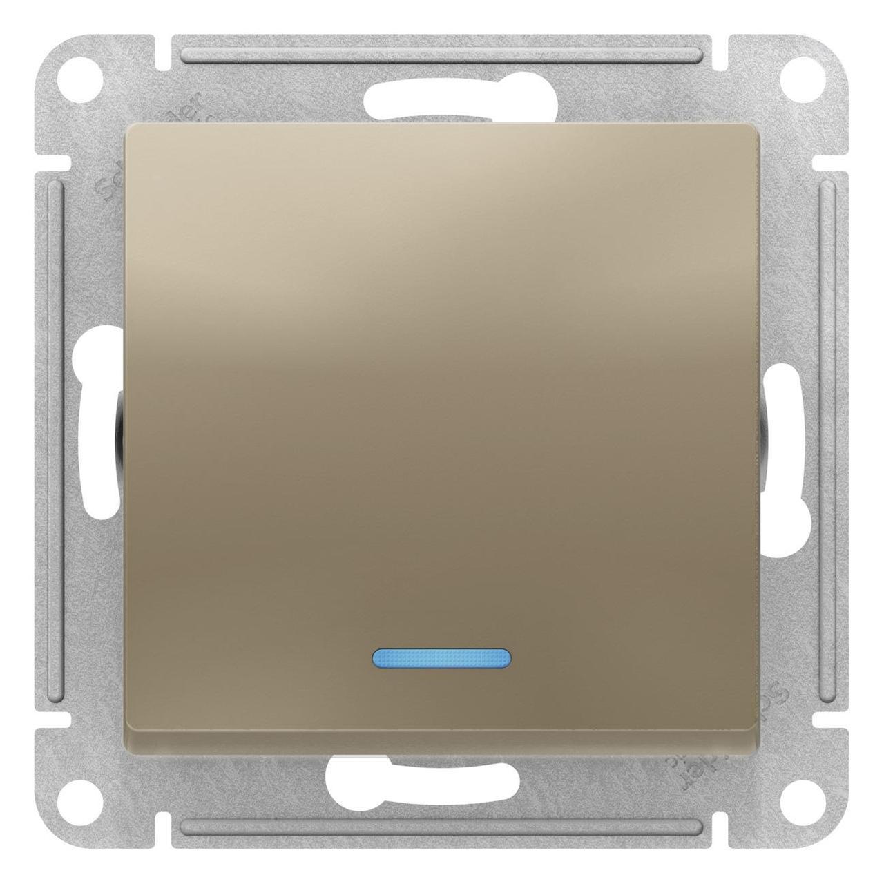 Выключатель 1-клавишный ,проходной с индикацией (с двух мест) , Шампань, серия Atlas Design, Schneider