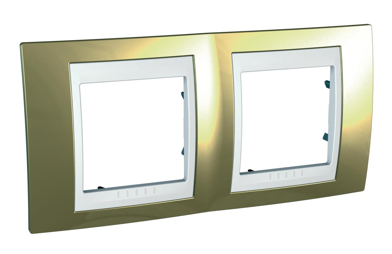Рамка 2-ая (двойная), Золото/Белый (пластик), серия Unica, Schneider Electric