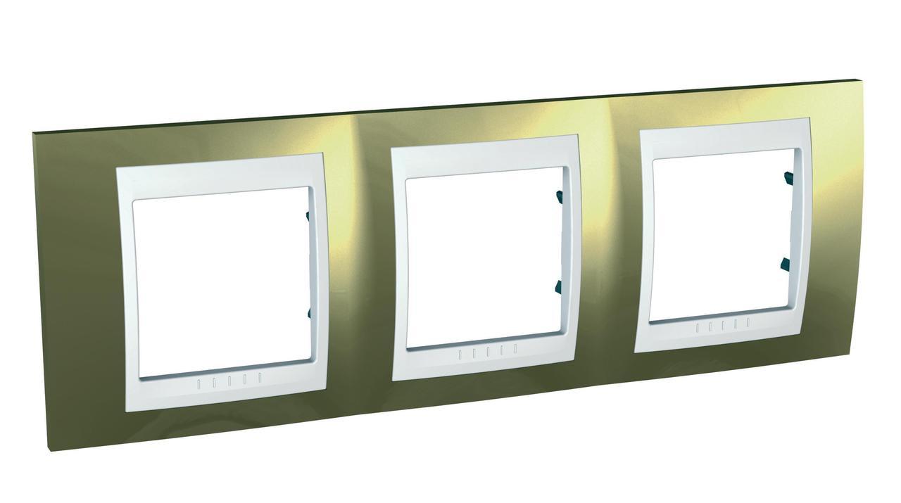 Рамка 3-ая (тройная), Золото/Белый (пластик), серия Unica, Schneider Electric