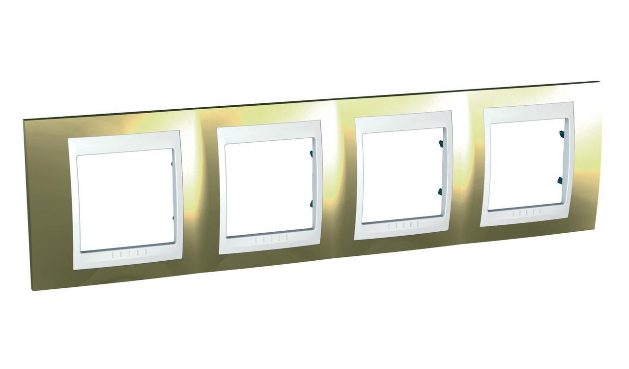 Рамка 4-ая (четверная), Золото/Белый (пластик), серия Unica, Schneider Electric