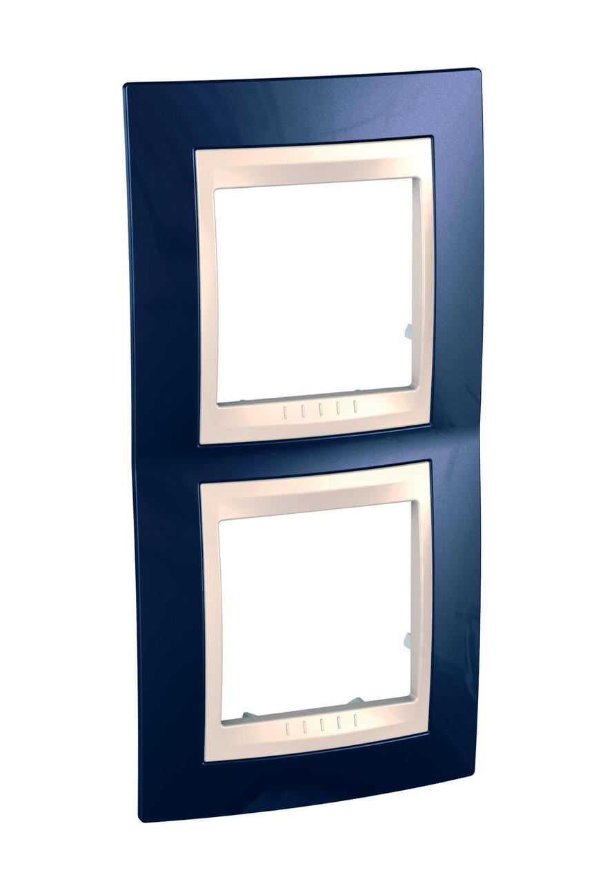 Рамка 2-ая (двойная) вертикальная, Индиго/Бежевый, серия Unica, Schneider Electric