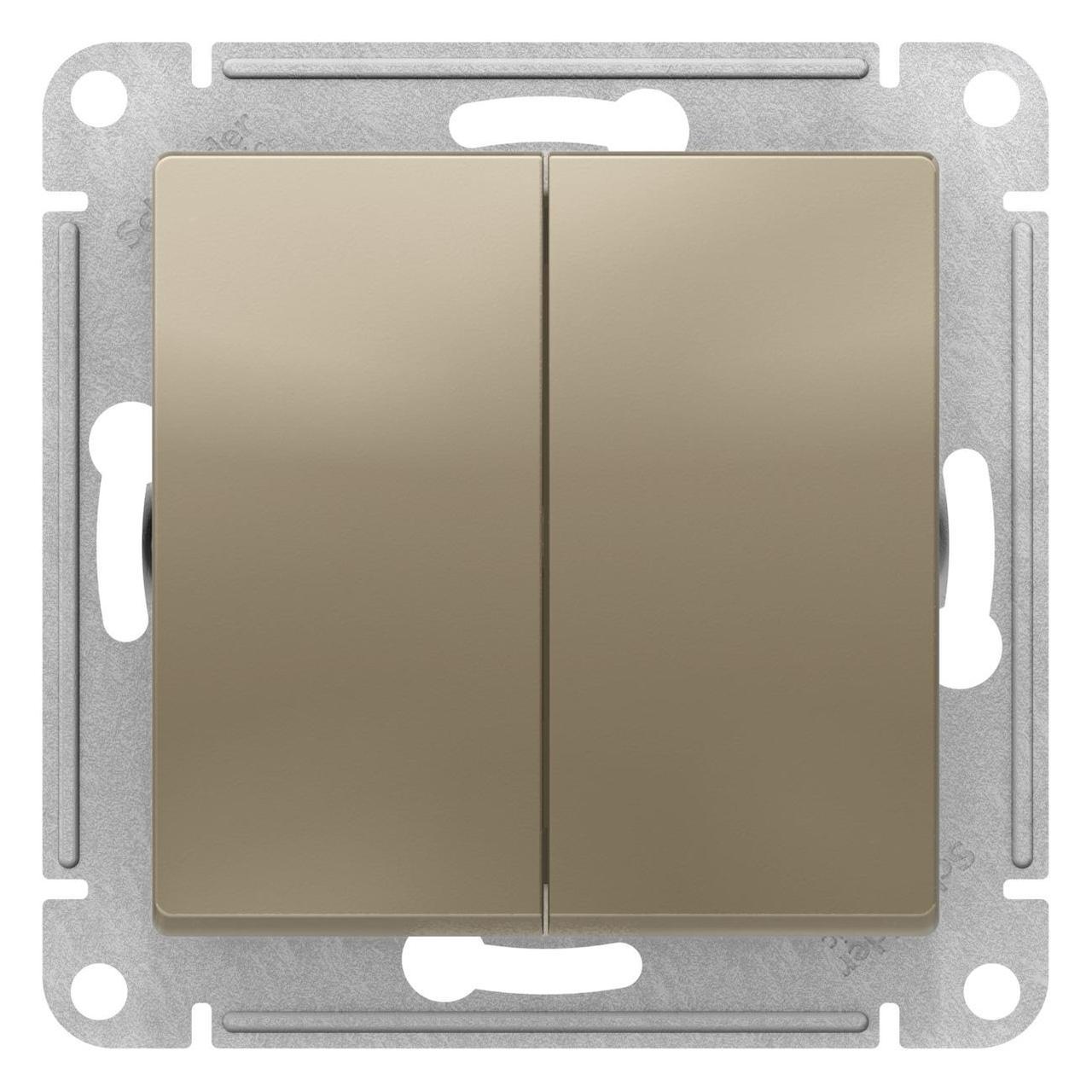 Выключатель 2-клавишный проходной (с двух мест) , Шампань, серия Atlas Design, Schneider Electric