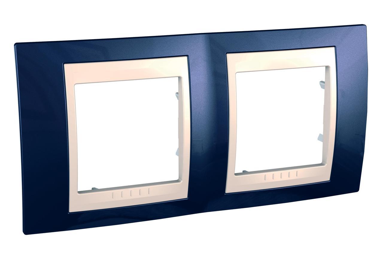 Рамка 2-ая (двойная), Индиго/Бежевый, серия Unica, Schneider Electric