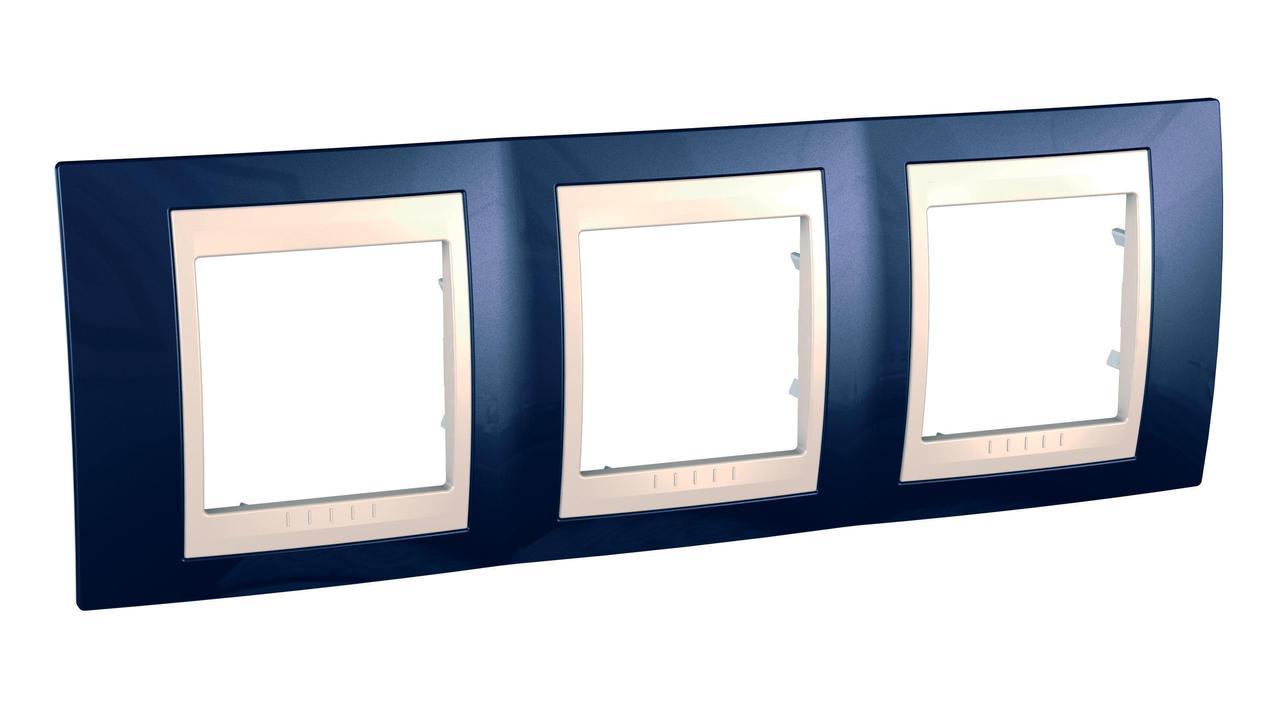 Рамка 3-ая (тройная), Индиго/Бежевый, серия Unica, Schneider Electric