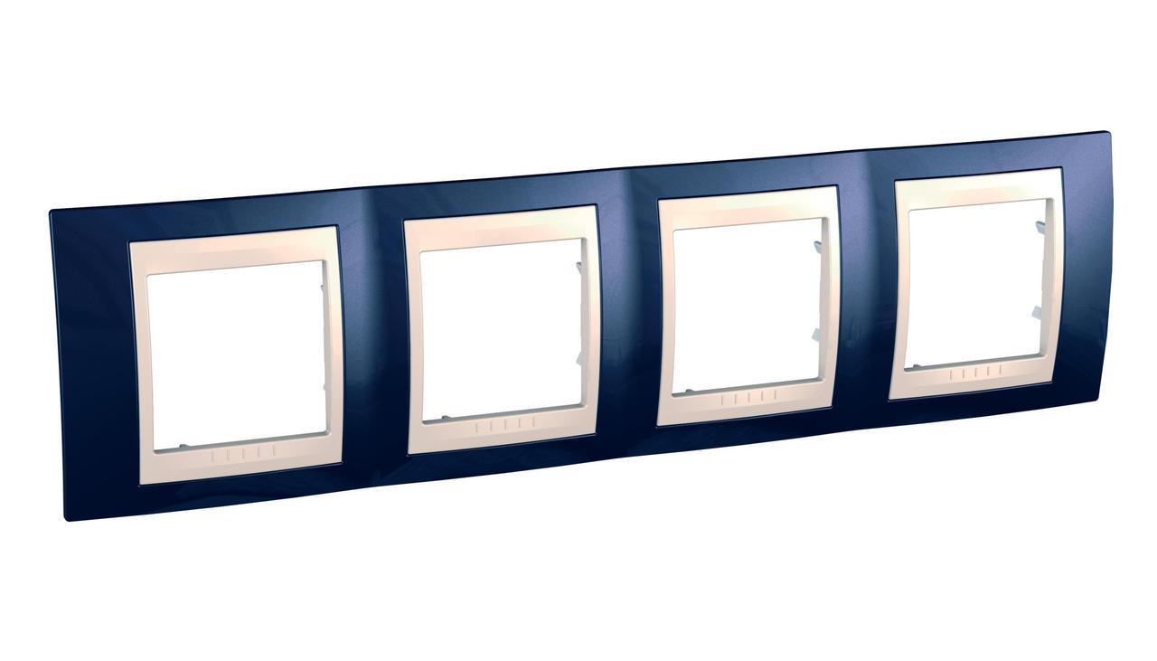 Рамка 4-ая (четверная), Индиго/Бежевый, серия Unica, Schneider Electric