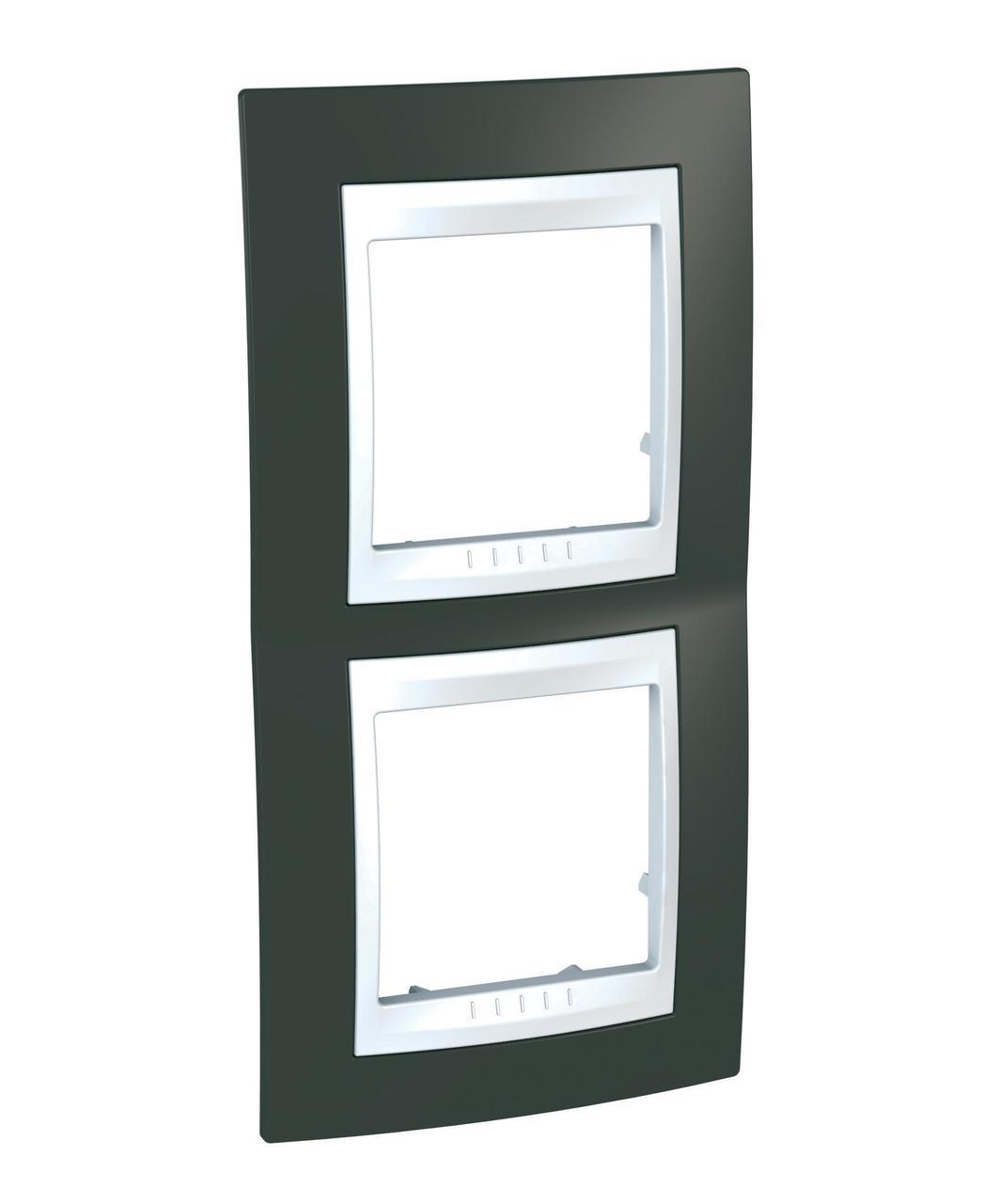 Рамка 2-ая (двойная) вертикальная, Какао/Белый, серия Unica, Schneider Electric