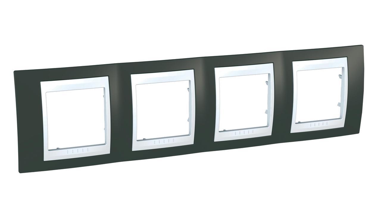 Рамка 4-ая (четверная), Какао/Белый, серия Unica, Schneider Electric
