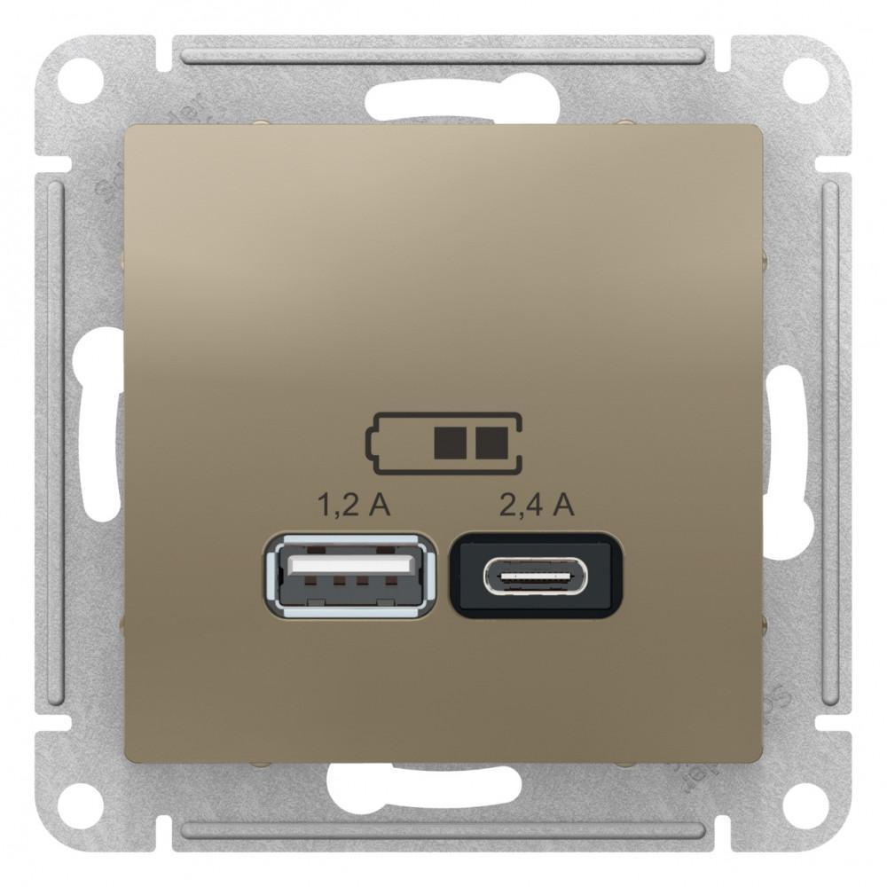 Розетка USB 2-ая тип А+С (для подзарядки) , Шампань, серия Atlas Design, Schneider Electric
