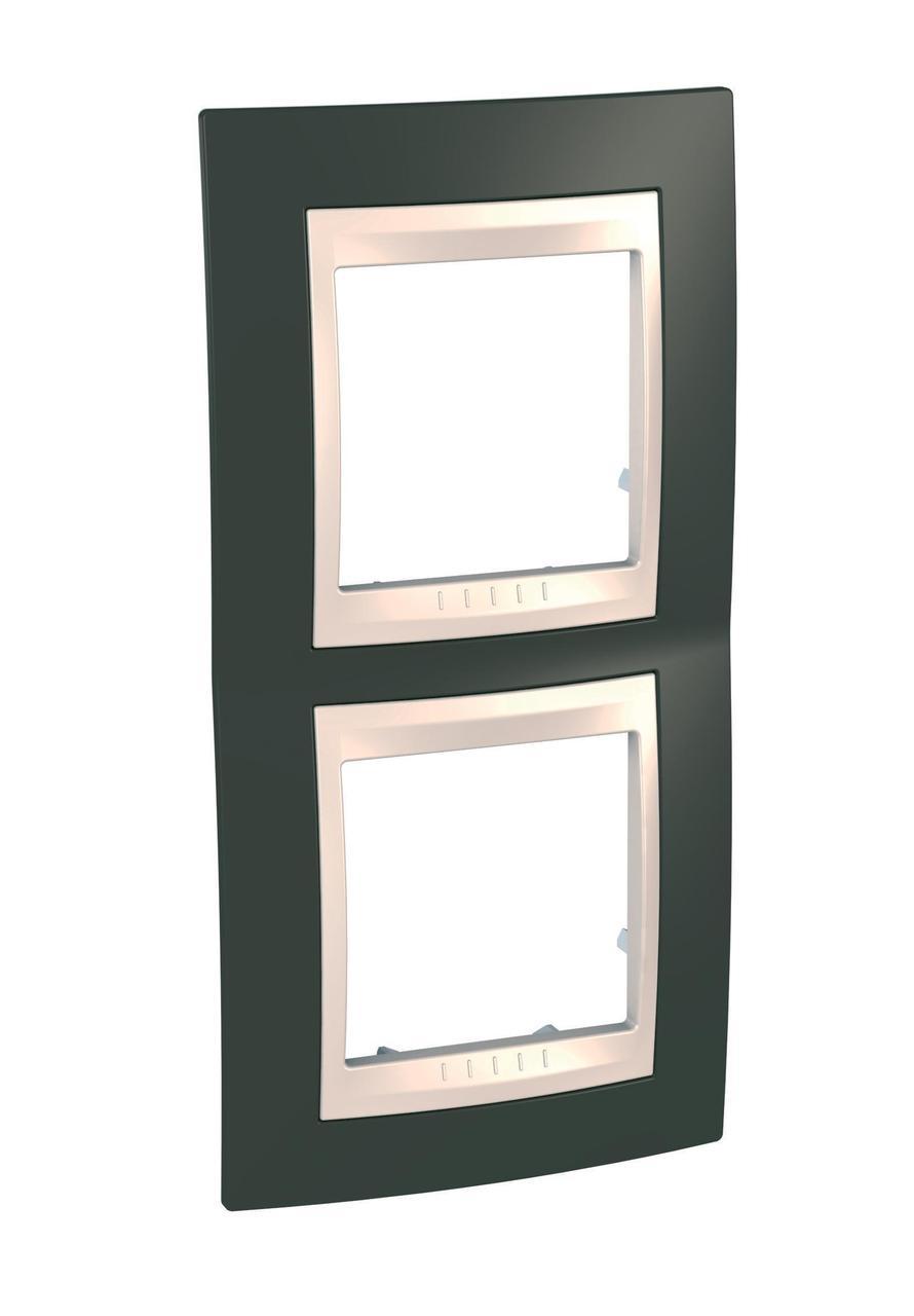 Рамка 2-ая (двойная) вертикальная, Какао/Бежевый, серия Unica, Schneider Electric