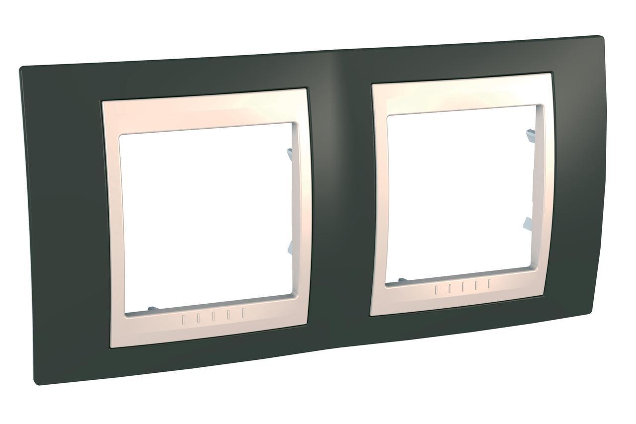 Рамка 2-ая (двойная), Какао/Бежевый, серия Unica, Schneider Electric