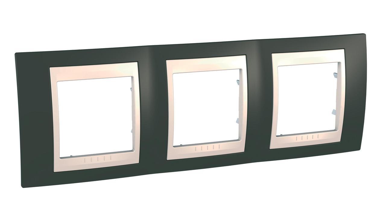 Рамка 3-ая (тройная), Какао/Бежевый, серия Unica, Schneider Electric