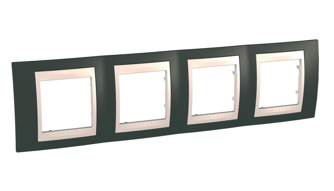 Рамка 4-ая (четверная), Какао/Бежевый, серия Unica, Schneider Electric