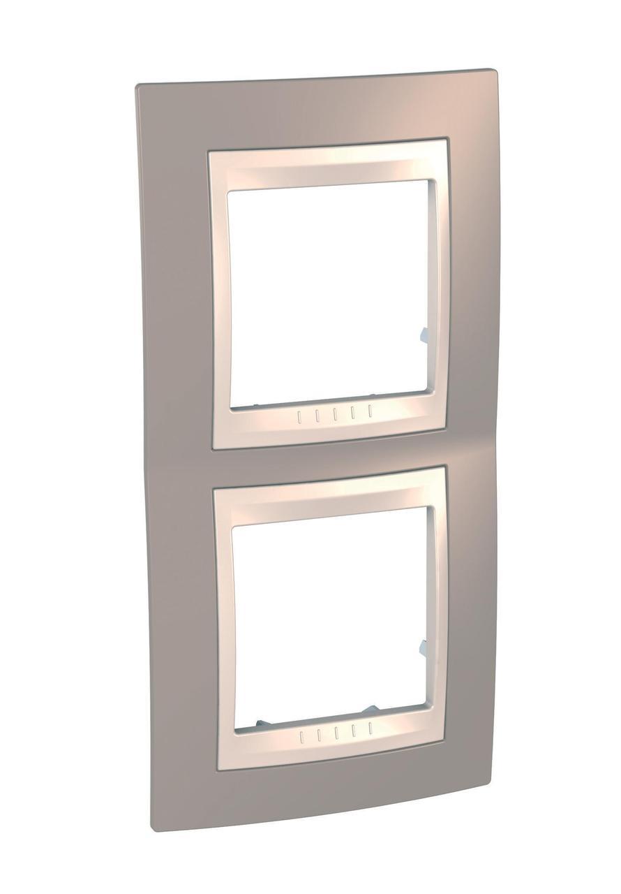 Рамка 2-ая (двойная) вертикальная, Коричневый/Бежевый, серия Unica, Schneider Electric