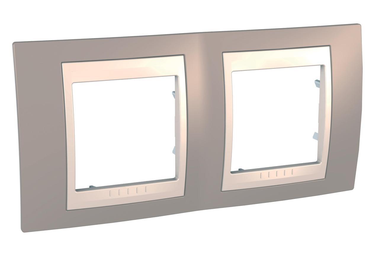Рамка 2-ая (двойная), Коричневый/Бежевый, серия Unica, Schneider Electric