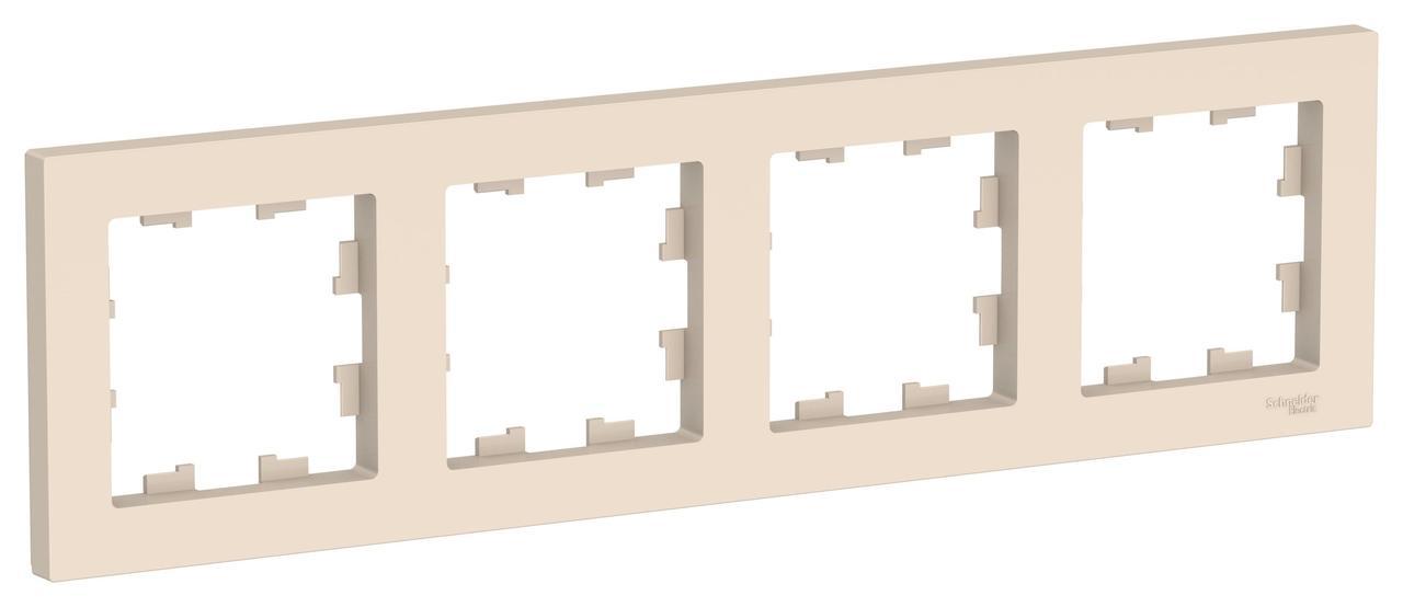 Рамка 4-ая (четверная), Бежевый, серия Atlas Design, Schneider Electric