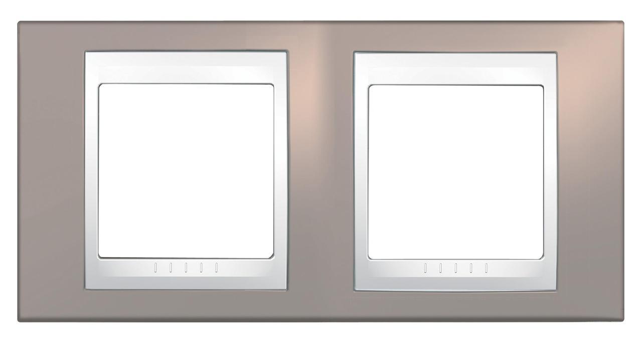 Рамка 2-ая (двойная), Коричневый/Белый, серия Unica, Schneider Electric