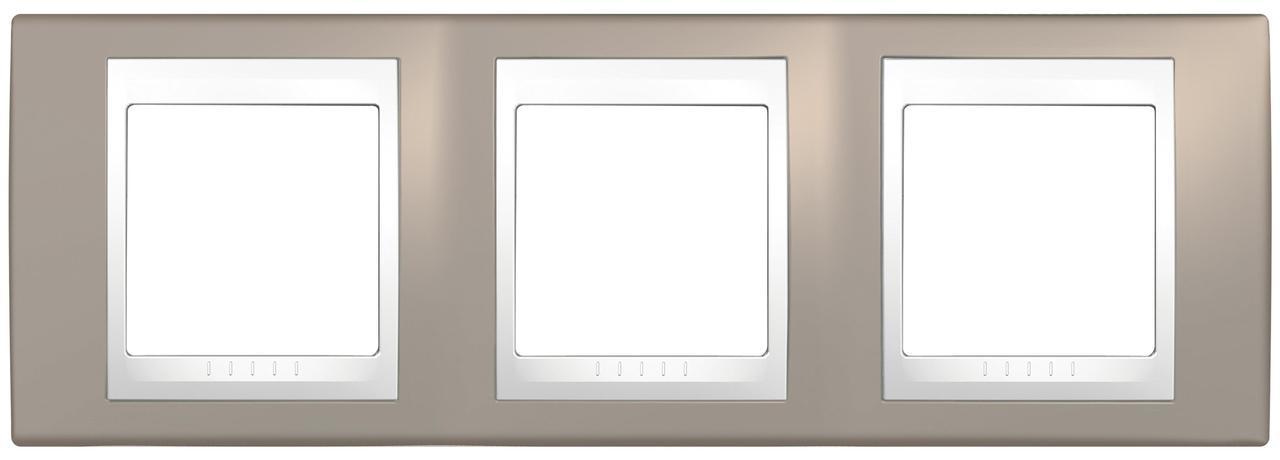 Рамка 3-ая (тройная), Коричневый/Белый, серия Unica, Schneider Electric