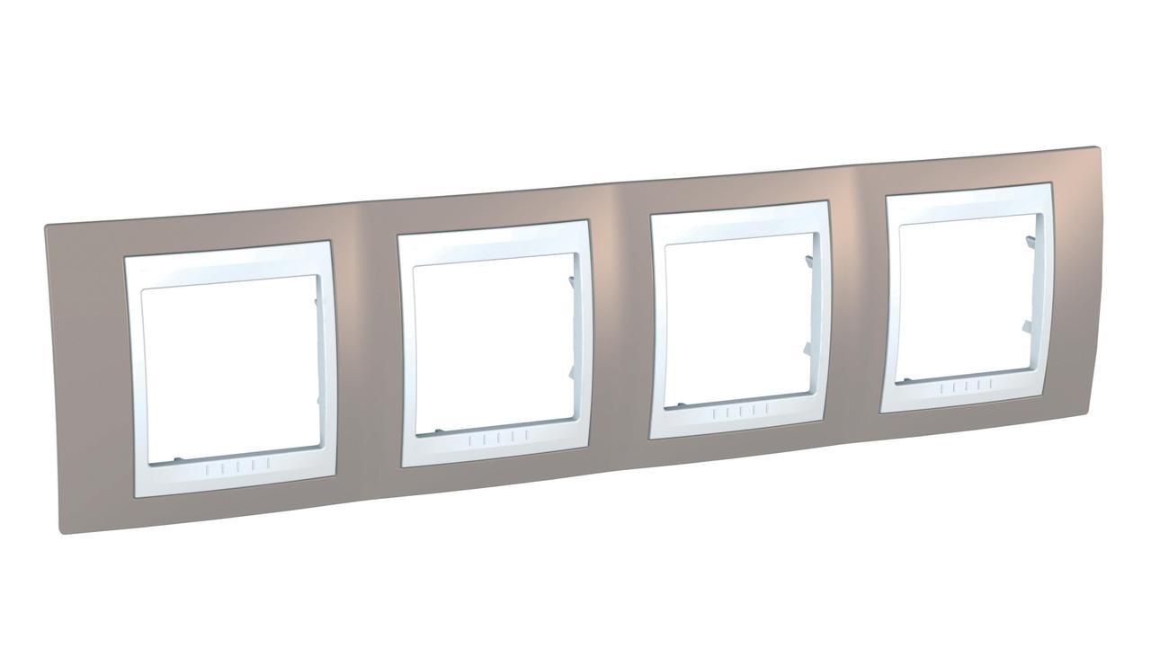 Рамка 4-ая (четверная), Коричневый/Белый, серия Unica, Schneider Electric