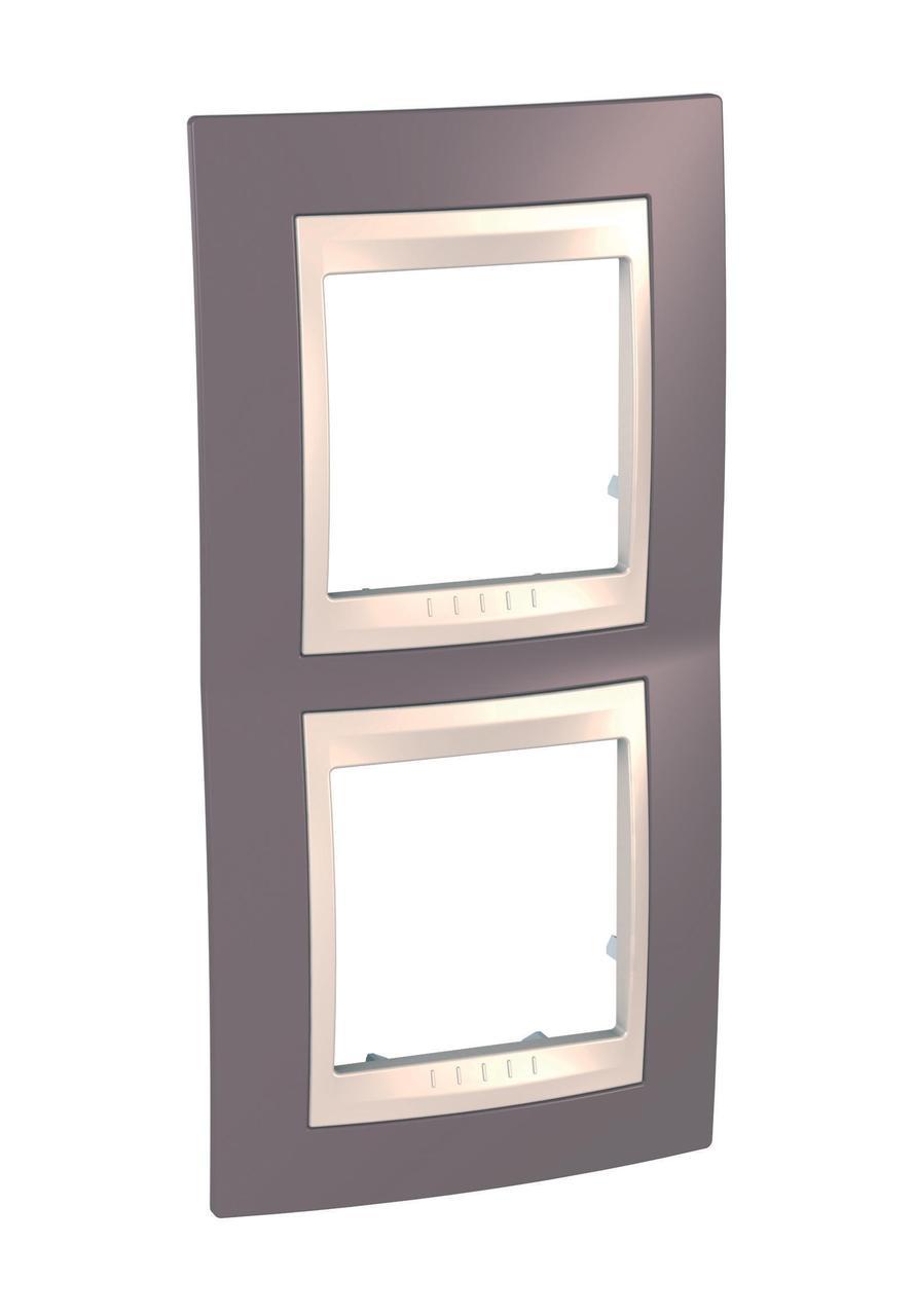 Рамка 2-ая (двойная) вертикальная, Лиловый/Бежевый, серия Unica, Schneider Electric