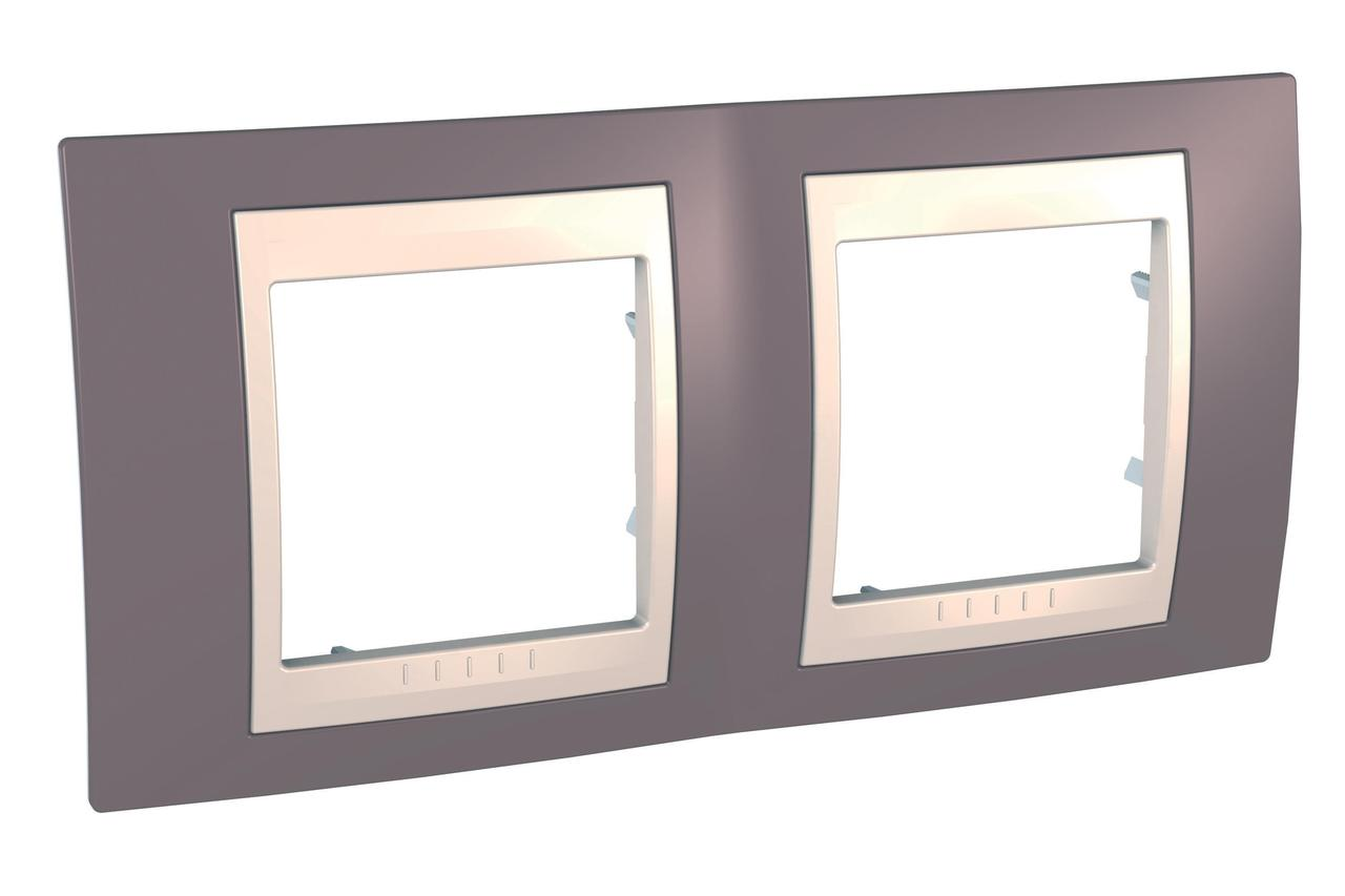 Рамка 2-ая (двойная), Лиловый/Бежевый, серия Unica, Schneider Electric
