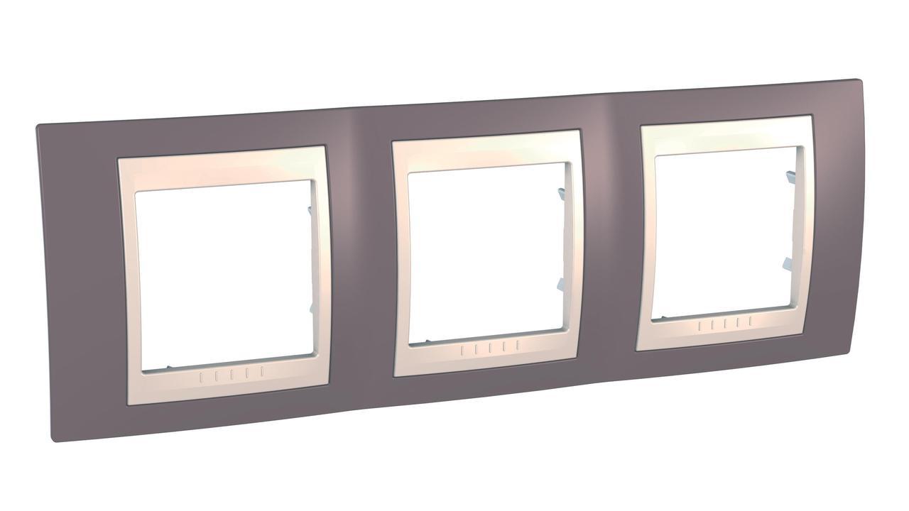Рамка 3-ая (тройная), Лиловый/Бежевый, серия Unica, Schneider Electric