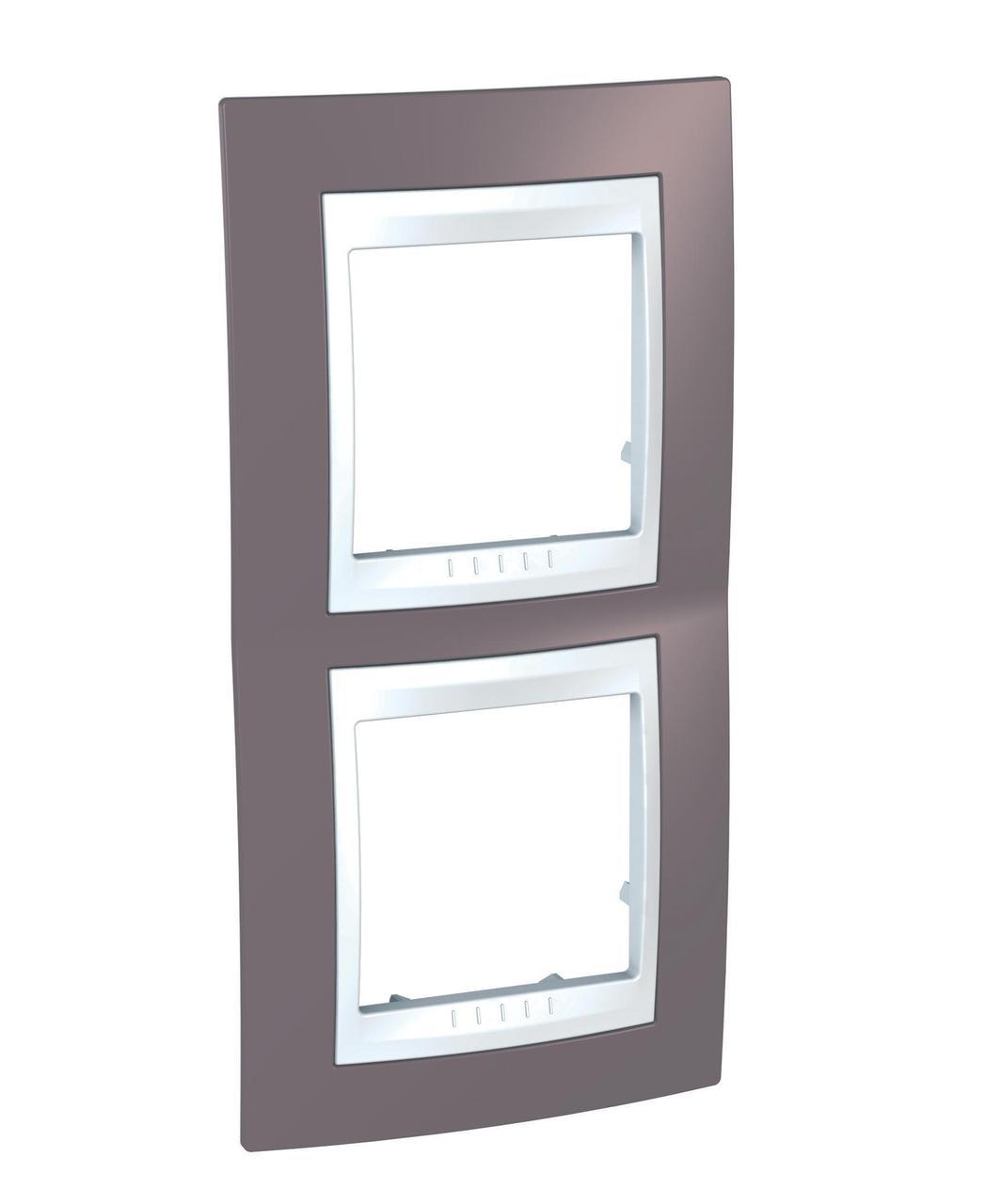 Рамка 2-ая (двойная) вертикальная, Лиловый/Белый, серия Unica, Schneider Electric
