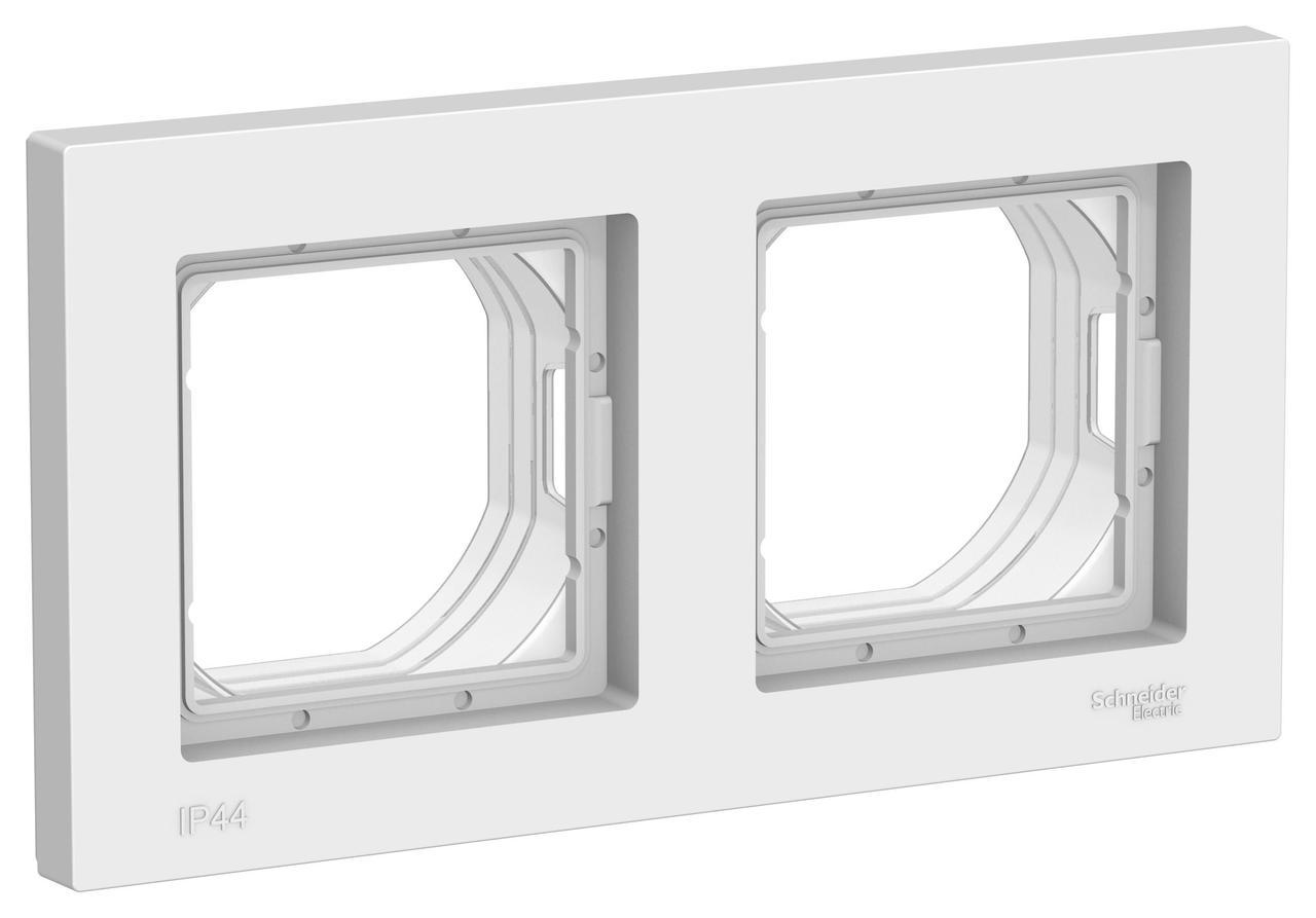 Рамка IP44 2-ая (двойная), влагозащитная, Белый, серия Atlas Design, Schneider Electric