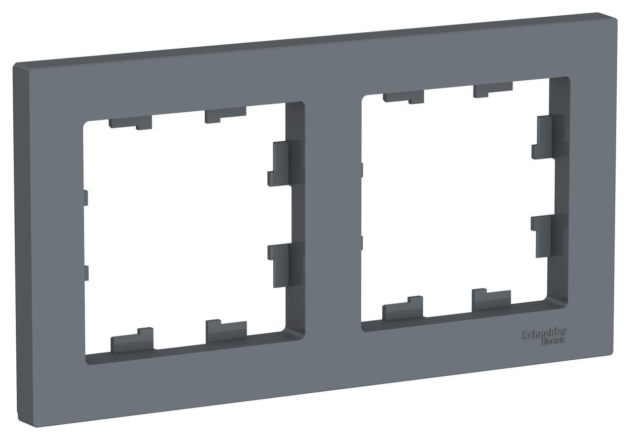 Рамка 2-ая (двойная), Грифель, серия Atlas Design, Schneider Electric
