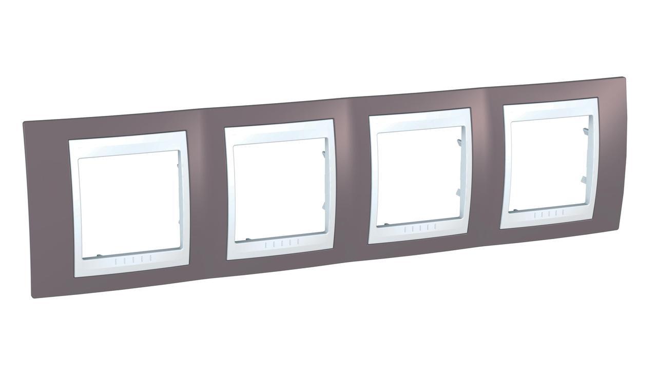 Рамка 4-ая (четверная), Лиловый/Белый, серия Unica, Schneider Electric