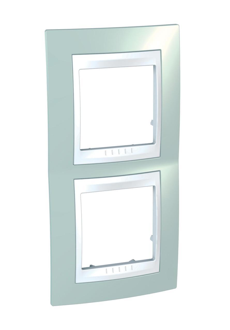 Рамка 2-ая (двойная) вертикальная, Морская волна/Белый, серия Unica, Schneider Electric