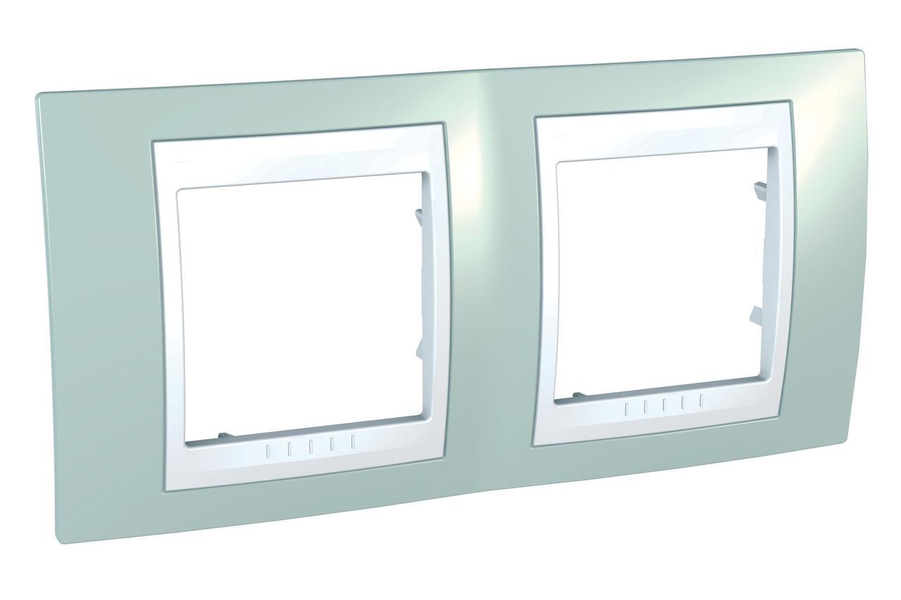 Рамка 2-ая (двойная), Морская волна/Белый, серия Unica, Schneider Electric