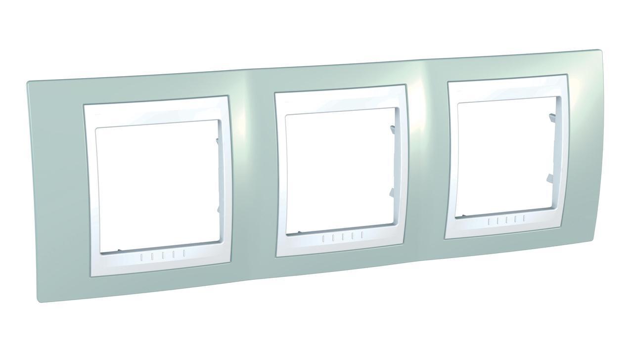 Рамка 3-ая (тройная), Морская волна/Белый, серия Unica, Schneider Electric