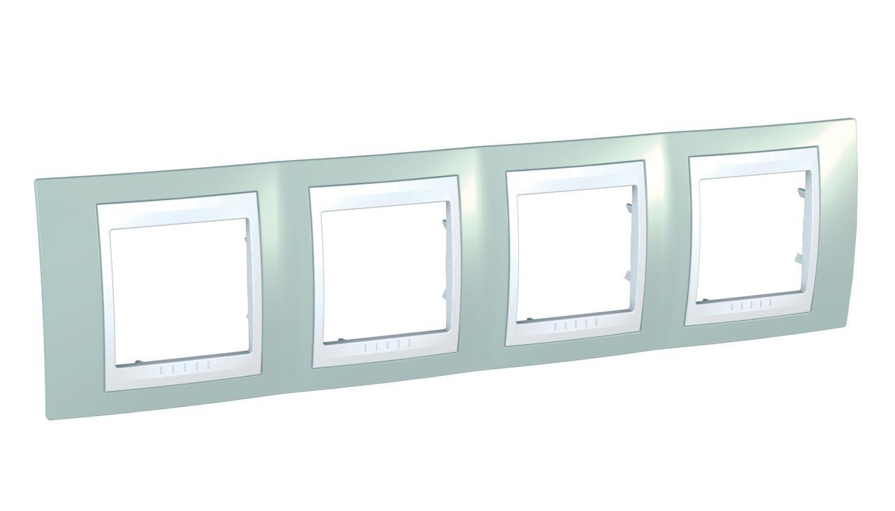 Рамка 4-ая (четверная), Морская волна/Белый, серия Unica, Schneider Electric
