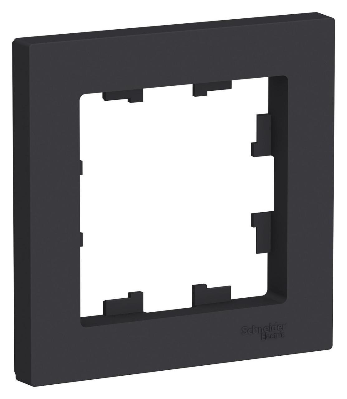Рамка 1-ая (одинарная), Карбон, серия Atlas Design, Schneider Electric