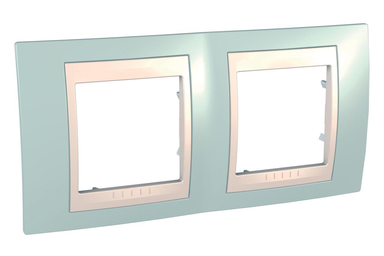 Рамка 2-ая (двойная), Морская волна/Бежевый, серия Unica, Schneider Electric