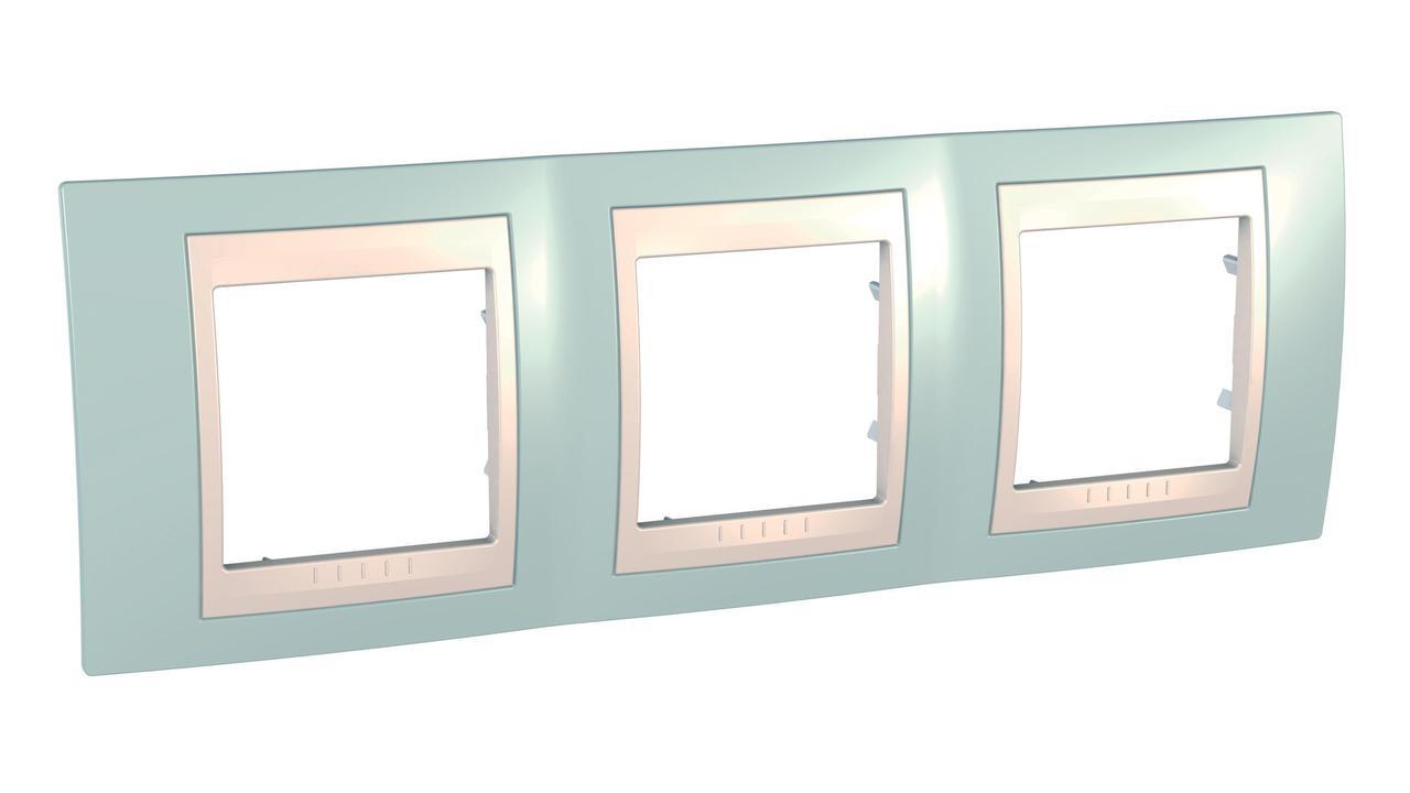 Рамка 3-ая (тройная), Морская волна/Бежевый, серия Unica, Schneider Electric