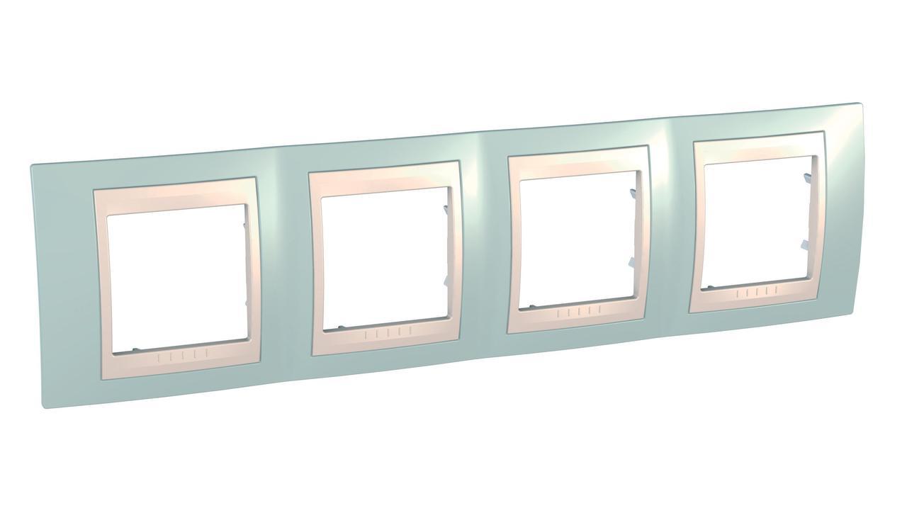 Рамка 4-ая (четверная), Морская волна/Бежевый, серия Unica, Schneider Electric