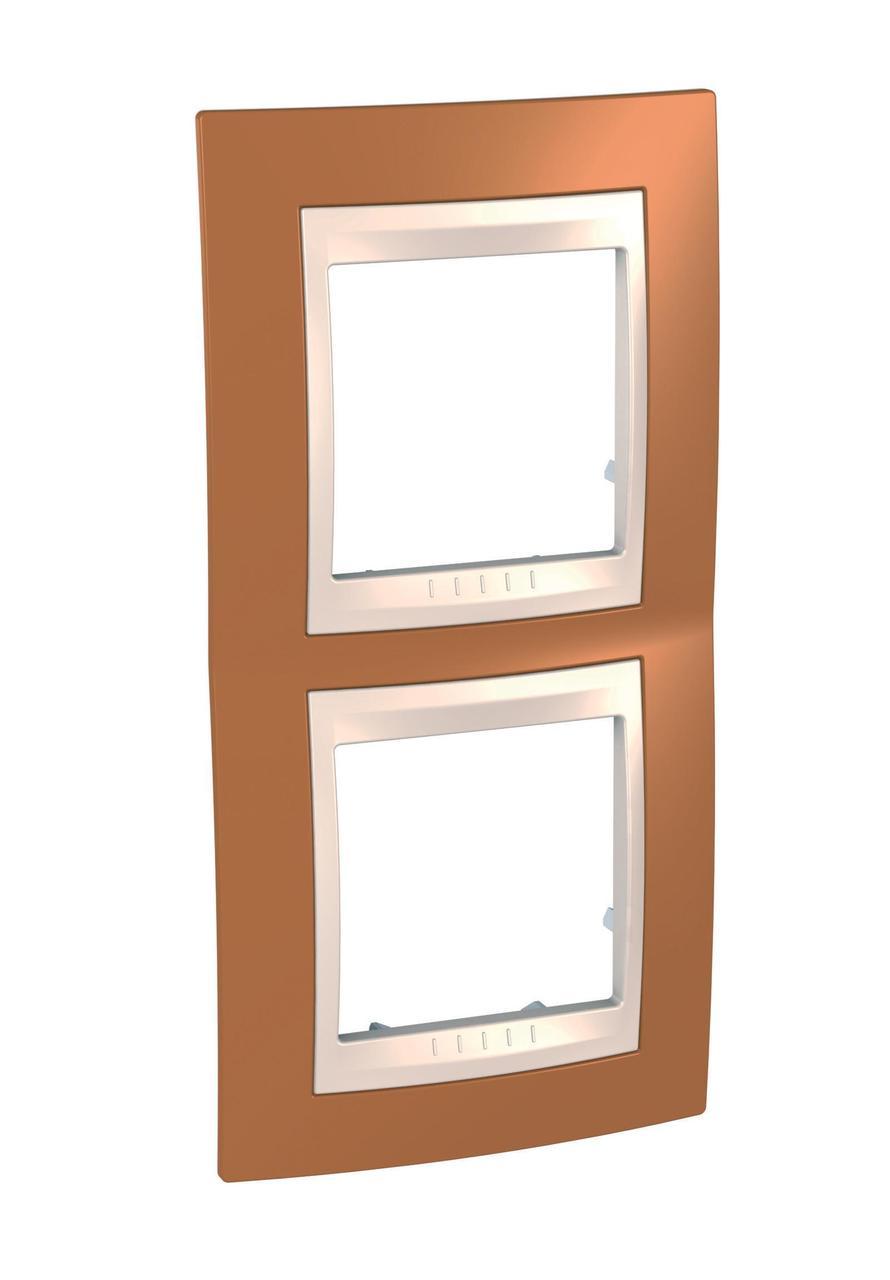 Рамка 2-ая (двойная) вертикальная, Оранжевый/Бежевый, серия Unica, Schneider Electric