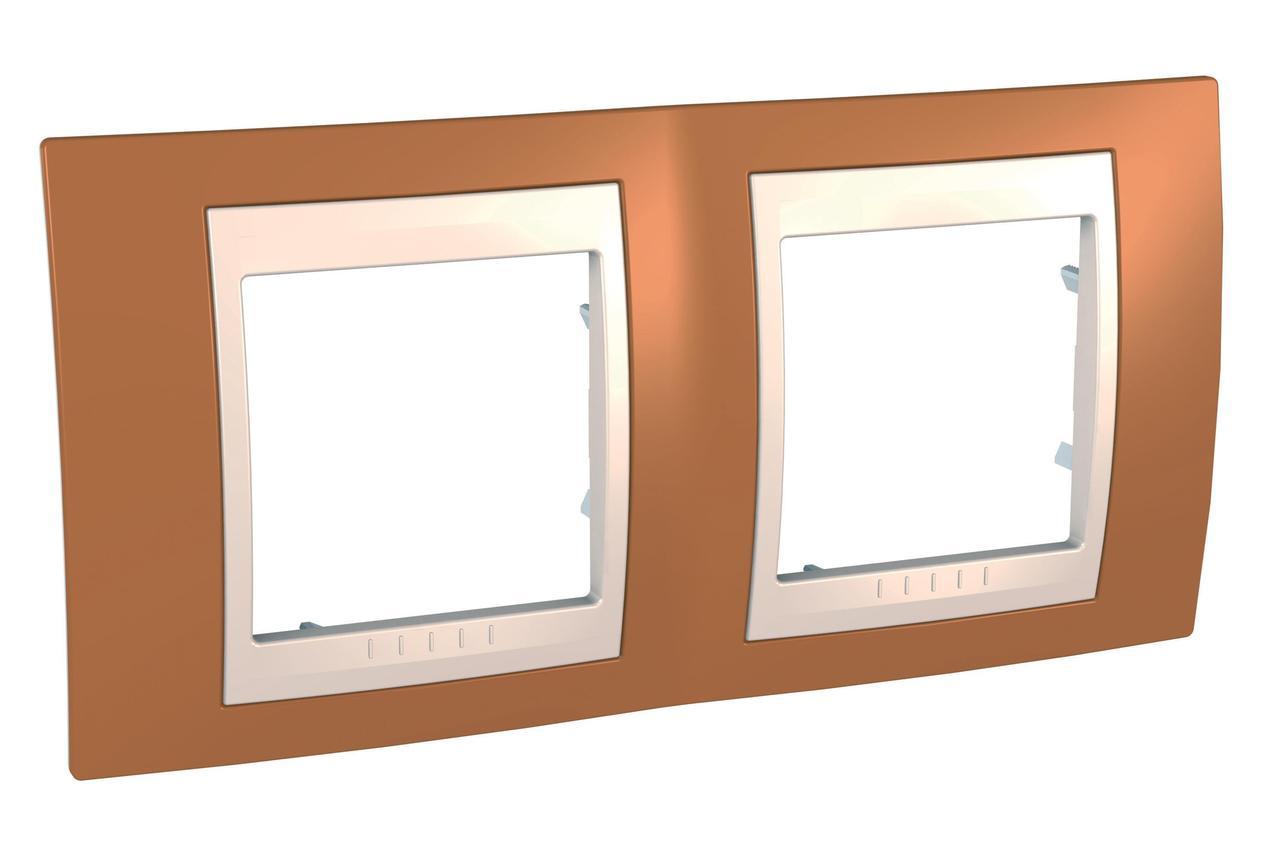 Рамка 2-ая (двойная), Оранжевый/Бежевый, серия Unica, Schneider Electric