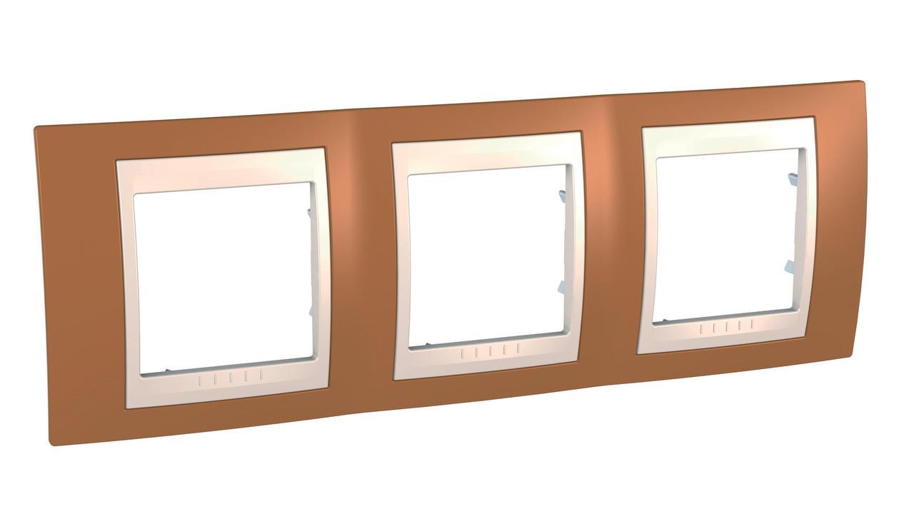 Рамка 3-ая (тройная), Оранжевый/Бежевый, серия Unica, Schneider Electric