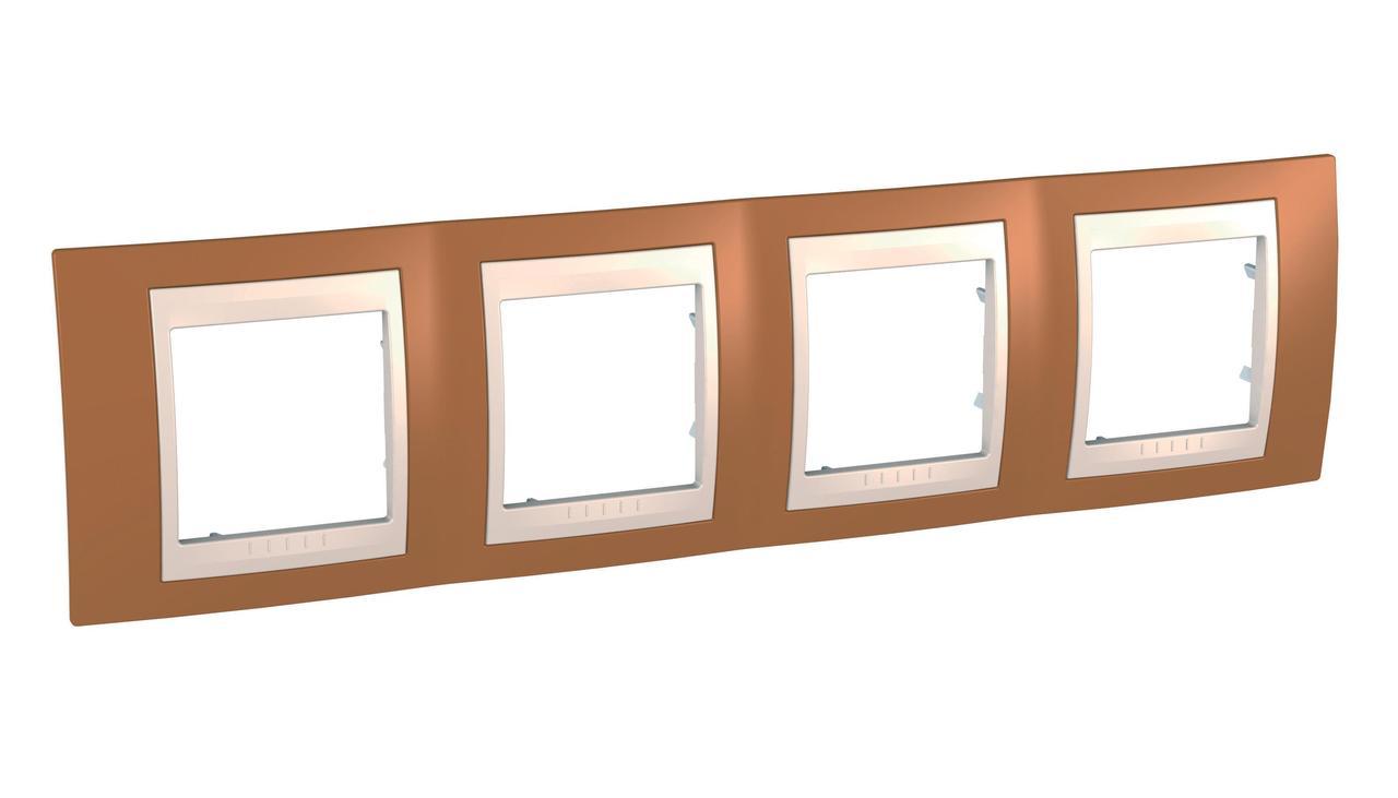 Рамка 4-ая (четверная), Оранжевый/Бежевый, серия Unica, Schneider Electric
