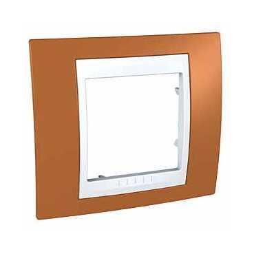 Рамка 1-ая (одинарная), Оранжевый/Белый, серия Unica, Schneider Electric