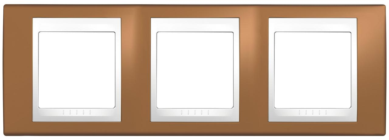 Рамка 3-ая (тройная), Оранжевый/Белый, серия Unica, Schneider Electric